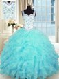 Custom Fit Sweetheart Sleeveless Organza Quinceanera Dress Beading and Appliques and Ruffles Lace Up