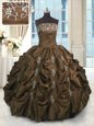 Glittering Chocolate Ball Gowns Taffeta Strapless Sleeveless Beading and Appliques and Embroidery and Pick Ups Floor Length Lace Up Quinceanera Dress