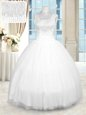 Three Piece Baby Blue Lace Up 15th Birthday Dress Beading and Ruffles Sleeveless Floor Length