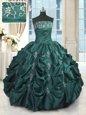 Sweetheart Sleeveless Organza Sweet 16 Dresses Beading and Pick Ups Sweep Train Lace Up
