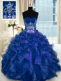 Sweetheart Sleeveless Sweet 16 Dress Floor Length Beading and Appliques and Ruffles Navy Blue Organza