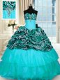 Custom Design Ruffled Sweep Train Ball Gowns Sweet 16 Dresses Aqua Blue Strapless Organza and Printed Sleeveless Lace Up