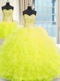 Three Piece Floor Length Lace Up Sweet 16 Quinceanera Dress Yellow and In for Military Ball and Sweet 16 and Quinceanera with Beading and Ruffles