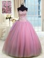 Rose Pink Organza Lace Up Sweetheart Sleeveless Floor Length Quinceanera Gowns Beading and Ruching