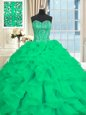 Superior Sweetheart Sleeveless Organza Quinceanera Dresses Beading and Ruffles Lace Up