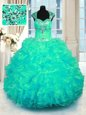 Fashion Straps Cap Sleeves Lace Up Quince Ball Gowns Turquoise Organza