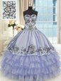 Most Popular Ruffled Floor Length Ball Gowns Sleeveless Lavender Quinceanera Gowns Lace Up
