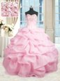 Hot Selling Beading and Ruffles Quinceanera Gown Pink Lace Up Sleeveless Floor Length