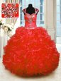 Straps Cap Sleeves Lace Up Sweet 16 Dress Red Organza