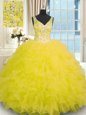 Yellow V-neck Neckline Beading and Ruffles Vestidos de Quinceanera Sleeveless Zipper