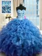 Blue Ball Gowns Sweetheart Sleeveless Organza Floor Length Lace Up Beading and Ruffles Sweet 16 Dresses