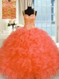 Nice Organza Straps Sleeveless Lace Up Embroidery and Ruffles Quinceanera Gowns in Orange Red
