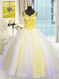 Latest V-neck Sleeveless Tulle Quinceanera Dresses Beading and Sequins Lace Up