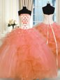 Pick Ups Floor Length Ball Gowns Sleeveless Orange Sweet 16 Quinceanera Dress Lace Up