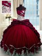 Wine Red Taffeta Lace Up 15 Quinceanera Dress Sleeveless With Brush Train Beading and Appliques and Pick Ups