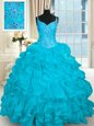Colorful Aqua Blue Organza Lace Up Quinceanera Dress Sleeveless Brush Train Beading and Embroidery and Ruffles