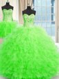 Three Piece Tulle Lace Up Sweet 16 Dresses Sleeveless Floor Length Beading and Ruffles