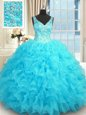 Floor Length Baby Blue Quinceanera Gowns V-neck Sleeveless Zipper