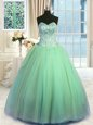 Dramatic Peach Sweetheart Lace Up Beading and Ruffles Vestidos de Quinceanera Sleeveless