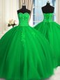 Enchanting Green Ball Gowns Tulle Sweetheart Sleeveless Appliques and Embroidery Floor Length Lace Up Sweet 16 Dress