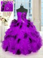 Strapless Sleeveless Lace Up Ball Gown Prom Dress Multi-color Tulle