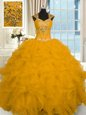 Floor Length Lace Up Quince Ball Gowns Gold and In for Military Ball and Sweet 16 and Quinceanera with Beading and Ruffles
