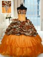 Printed Orange Strapless Lace Up Beading and Ruffled Layers Quinceanera Dress Sweep Train Sleeveless