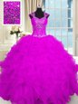 New Style Fuchsia Ball Gowns Straps Cap Sleeves Organza Floor Length Lace Up Beading and Ruffles Quince Ball Gowns