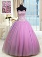 Unique Lilac Lace Up Sweetheart Beading and Ruching Sweet 16 Dress Organza Sleeveless
