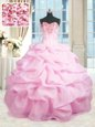Sweetheart Sleeveless Lace Up Sweet 16 Dresses Pink Organza