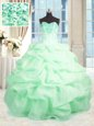 Apple Green Quinceanera Dress Military Ball and Sweet 16 and Quinceanera and For with Beading and Ruffles Sweetheart Sleeveless Lace Up