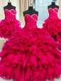 Dynamic Four Piece Hot Pink Sleeveless Beading and Ruffles and Ruching Floor Length Ball Gown Prom Dress