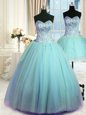 Three Piece Tulle Sweetheart Sleeveless Lace Up Beading Sweet 16 Quinceanera Dress in Blue