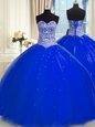 Customized Royal Blue Sweetheart Backless Beading and Sequins Quinceanera Gowns Sleeveless