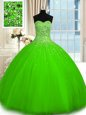 Sleeveless Floor Length Beading Lace Up Quinceanera Gown