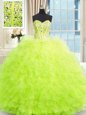 Yellow Green Strapless Lace Up Beading and Ruffles Vestidos de Quinceanera Sleeveless