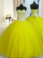 Yellow Green Tulle Lace Up Sweet 16 Quinceanera Dress Sleeveless Floor Length Beading and Sequins