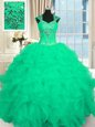 Turquoise Lace Up Sweet 16 Quinceanera Dress Beading and Ruffles and Pattern Cap Sleeves Floor Length