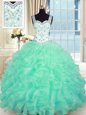 Sweetheart Sleeveless Lace Up 15 Quinceanera Dress Turquoise Organza