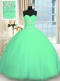 Floor Length Lace Up Sweet 16 Dresses Turquoise and In for Military Ball and Sweet 16 and Quinceanera with Appliques