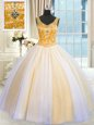 Adorable Multi-color Ball Gowns Beading and Sequins Quince Ball Gowns Lace Up Tulle Sleeveless Floor Length