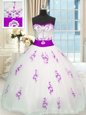 Colorful White Ball Gowns Organza Sweetheart Sleeveless Appliques and Belt Floor Length Lace Up 15th Birthday Dress