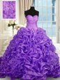 Pick Ups With Train Ball Gowns Sleeveless Lavender Quince Ball Gowns Sweep Train Lace Up