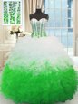 Sweetheart Sleeveless Organza Sweet 16 Quinceanera Dress Beading and Ruffles Brush Train Lace Up