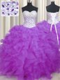 Lilac Sleeveless Organza Lace Up Quinceanera Gown for Military Ball and Sweet 16 and Quinceanera
