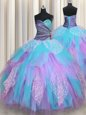Clearance Ball Gowns Ball Gown Prom Dress Multi-color Sweetheart Tulle Sleeveless Floor Length Lace Up