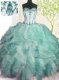 Floor Length Lace Up 15th Birthday Dress Green and In for Military Ball and Sweet 16 and Quinceanera with Beading and Ruffles