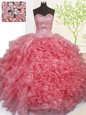 Custom Fit Beading and Ruffles Ball Gown Prom Dress Lace Up Sleeveless Floor Length