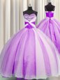 Cheap Sequins Floor Length Lilac Quinceanera Dress Spaghetti Straps Sleeveless Lace Up