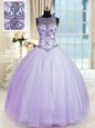 Artistic Lavender Ball Gowns Scoop Sleeveless Tulle Floor Length Lace Up Beading Sweet 16 Quinceanera Dress